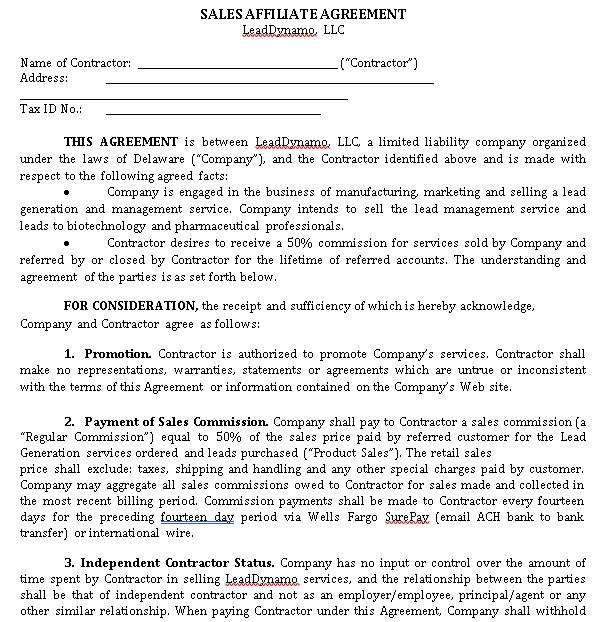Sales Commission Affliative Agreement