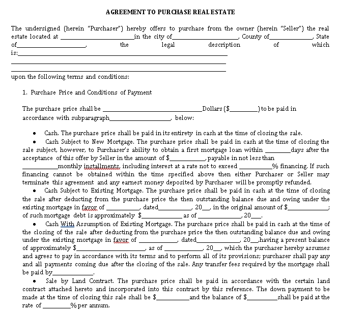 Sample Agreement To Purchase Real Estate 1