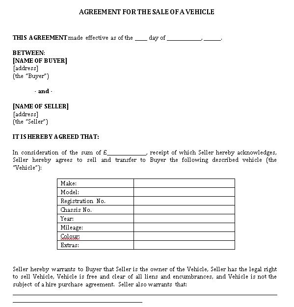 Sample Agreement of Vehicle Sale