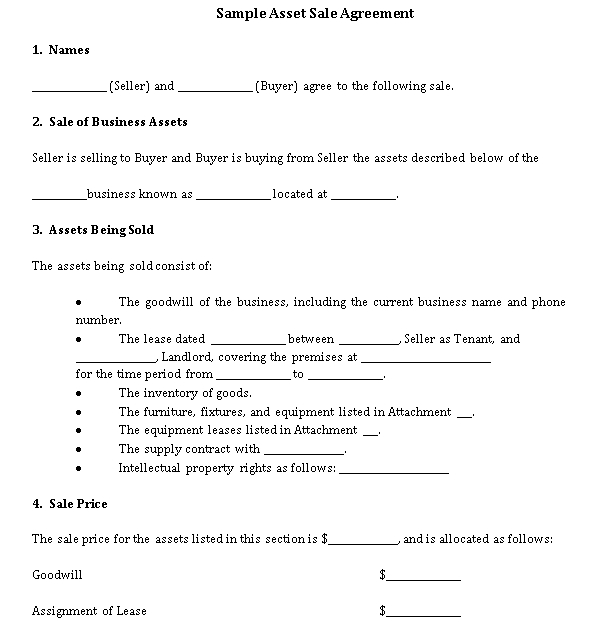 Sample Asset Sale Agreement 1