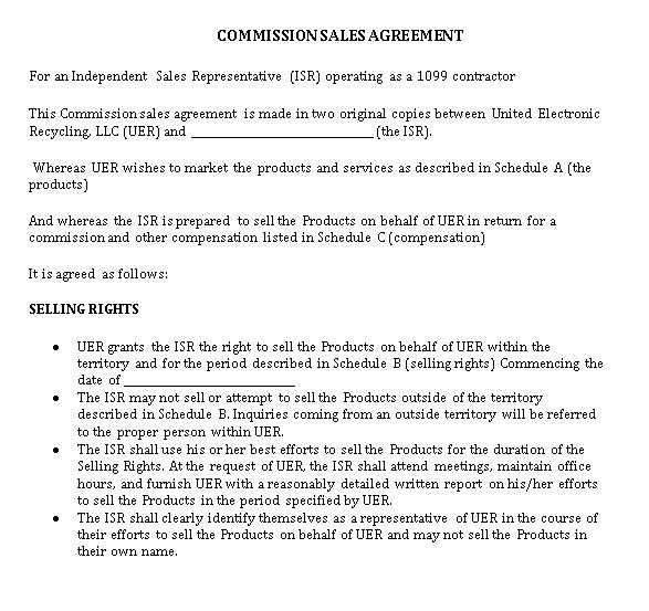 Sample Commission Sales Agreement