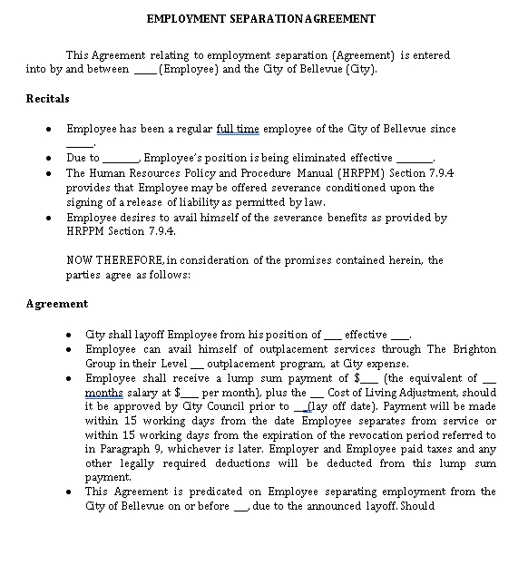 Sample Employment Separation Agreement in PDF