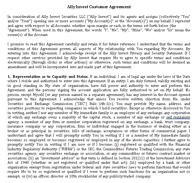 Sample Personal Investment Agreement Template