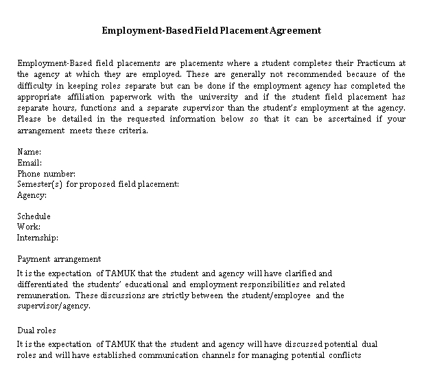 Sample Placement Agreement Example