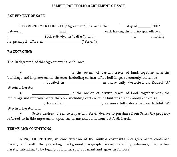 Sample Portfolio Agreement of Sale