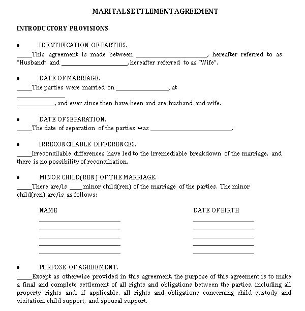 Sample Property Settlement Agreement