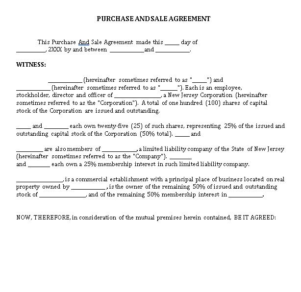Sample Purchase Sale Agreement