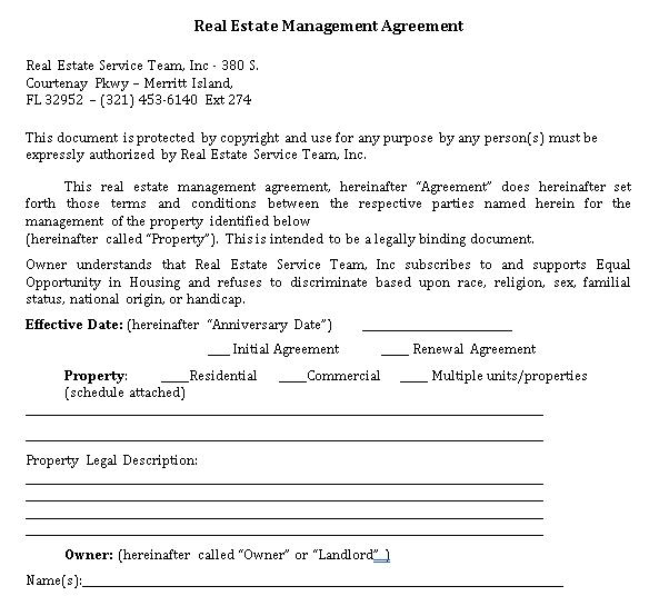 Sample Real Estate Management Agreement.1