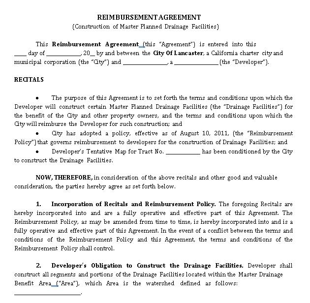 Sample Reimbursement Agreement Template