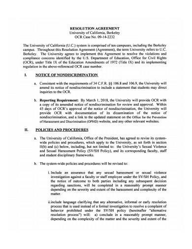 Sample Resolution Agreement Template