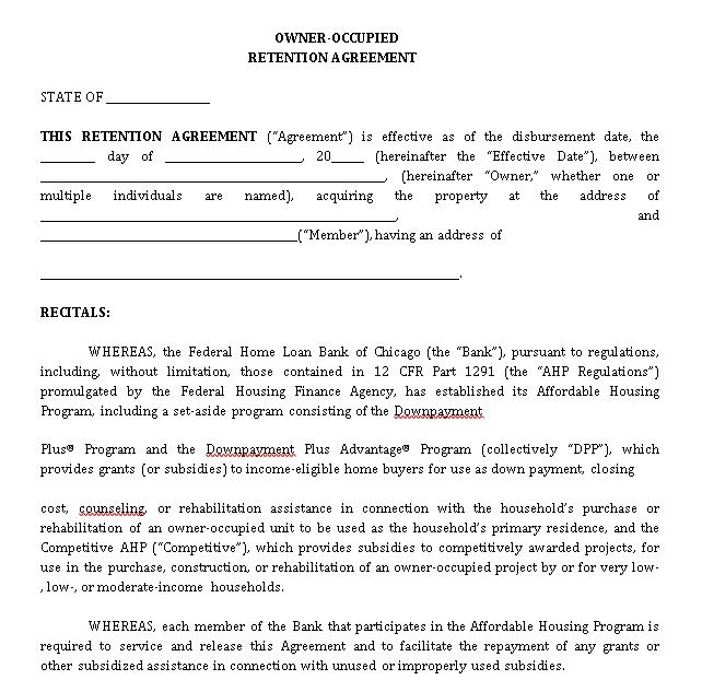 Sample Retention Agreement