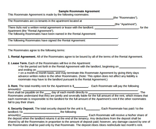 Sample Roommate Rental Agreement