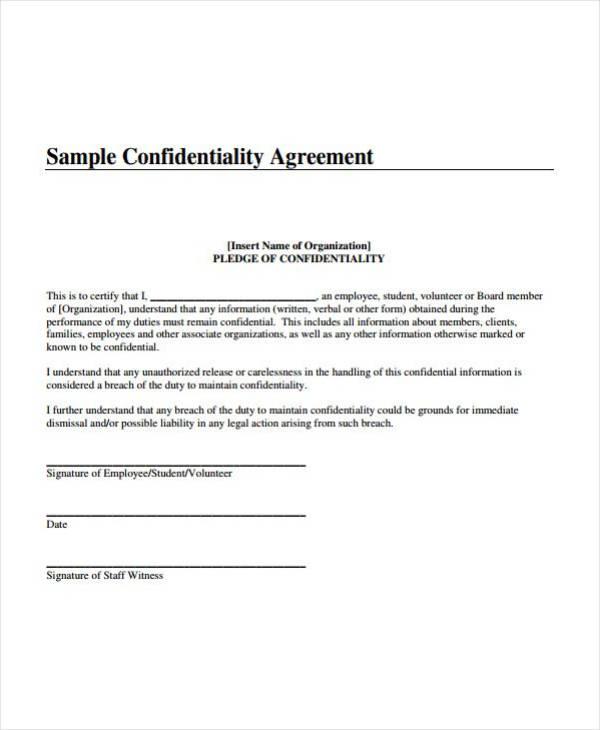 Sample Teacher Confidentiality Agreement