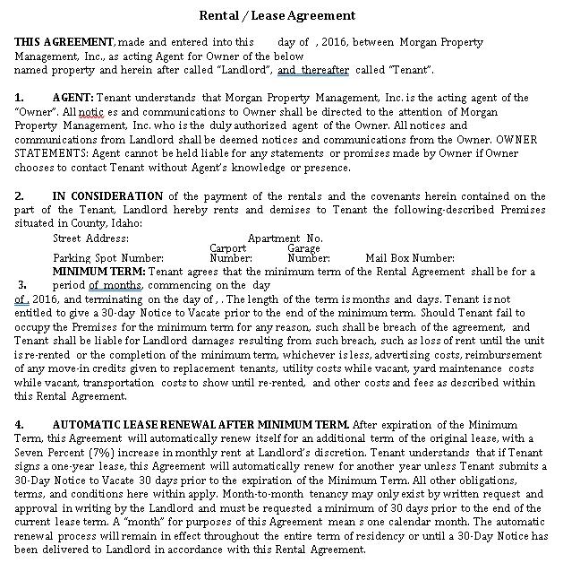 Sample Tenant Lease Agreement