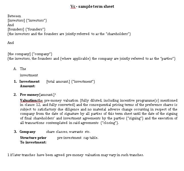 Sample Term Sheet And Venture Capital Agreement
