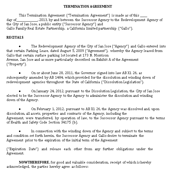 Sample Termination Agreement