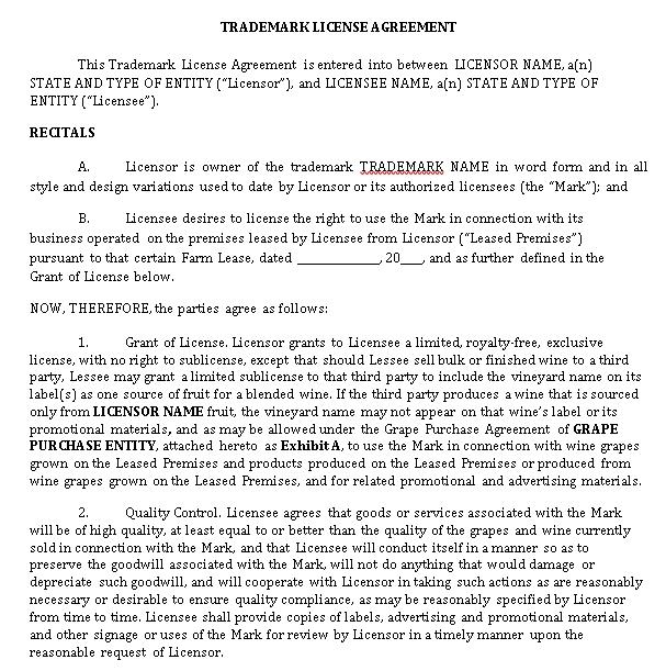 Sample Trademark License Agreement Template 1