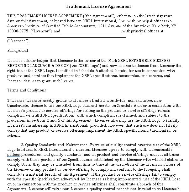 Sample Trademark License Agreement Template 2
