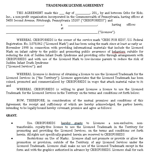Sample Trademark License Agreement Template 3