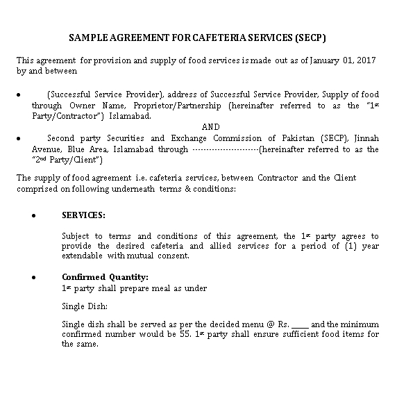Sample Vendor Agreement for Cafeterias