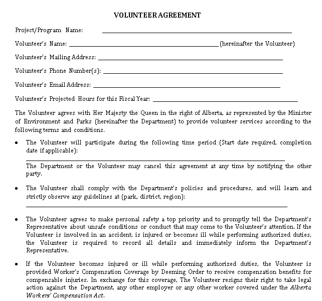 Sample Volunteer Agreement
