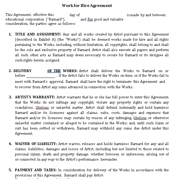 Sample Work for Hire Agreement