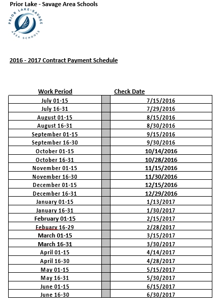 School Contract Payment Schedule