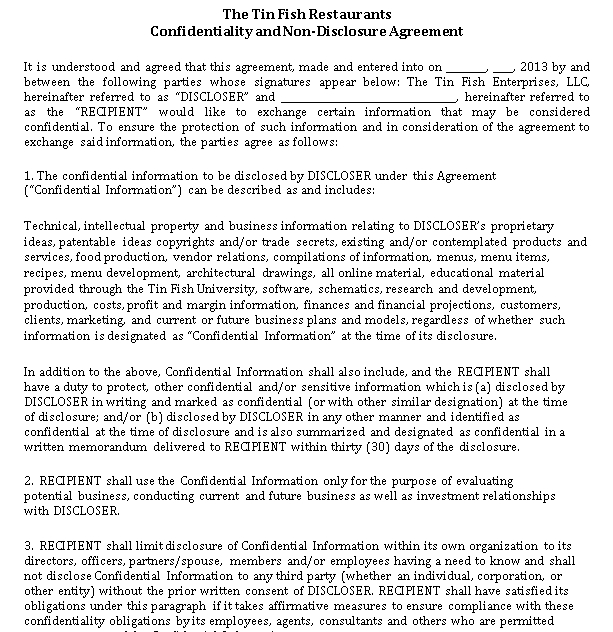 Seafood Restaurant Confidentiality and Non Compete Agreement