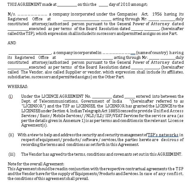 Security Business Vendor Agreement