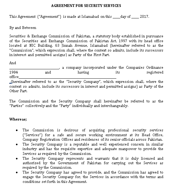 Security Guards Service Agreement