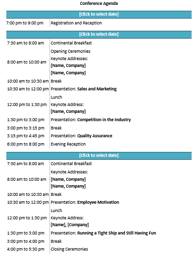 Seminar Conference Format Example