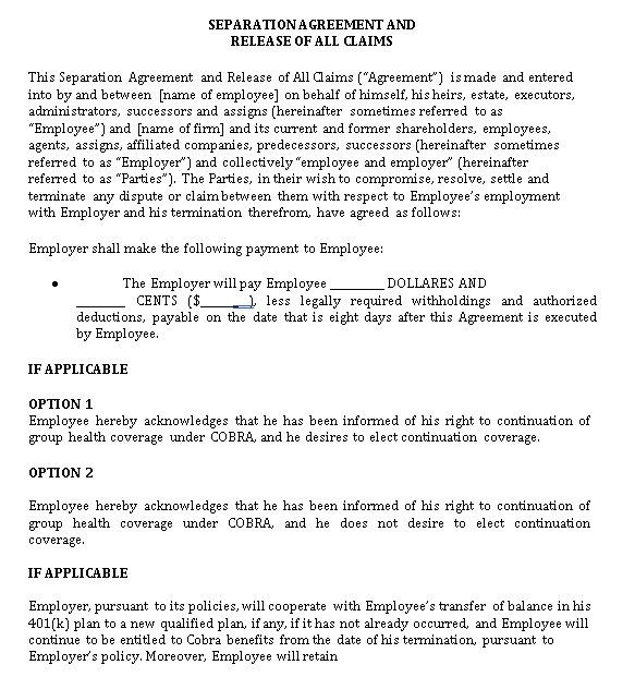 Separation Agreement Example in PDF