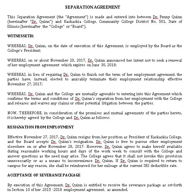 Separation Agreement Format