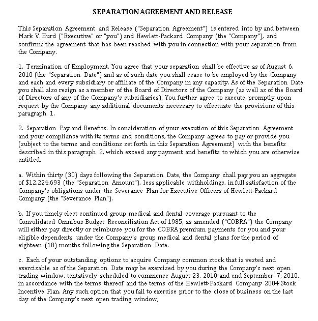 Seperation Agreement