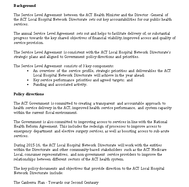 Service Level Agreement Template Healthcare