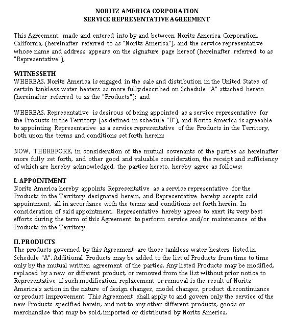 Service Representative Agreement