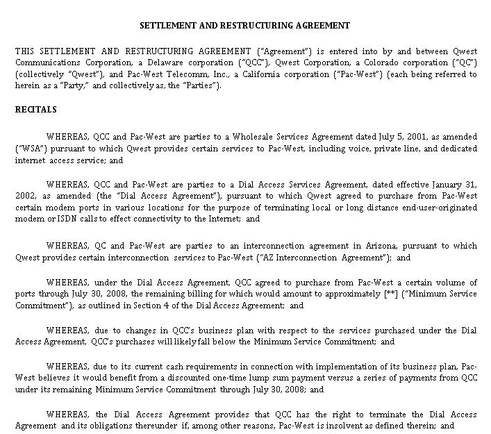 Settlement Restructuring Agreement