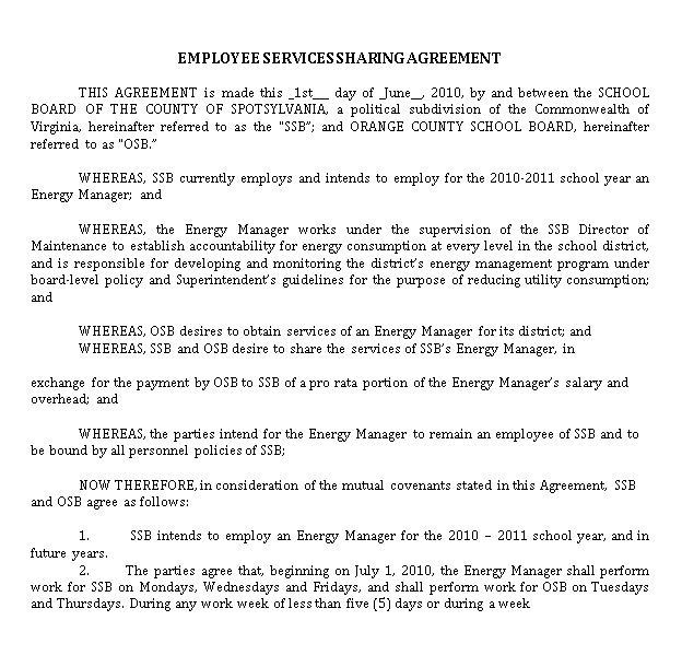 Shared Employee Services Agreement