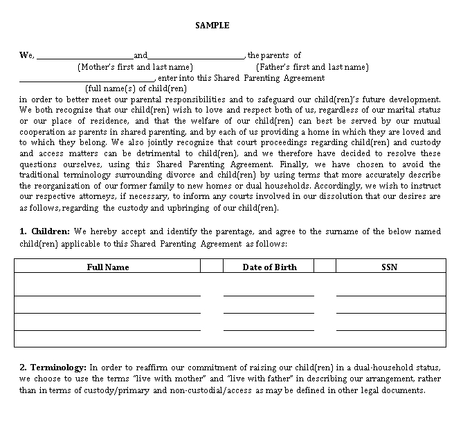 Shared Parenting Agreement Template