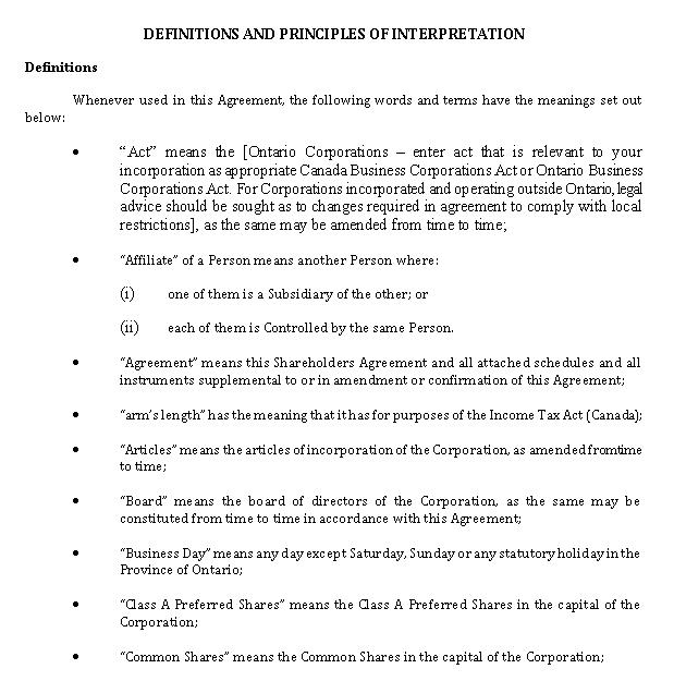 Shareholder Agreement Document