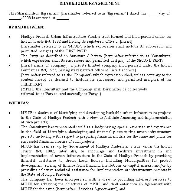 Shareholders Agreement Template PDF Format