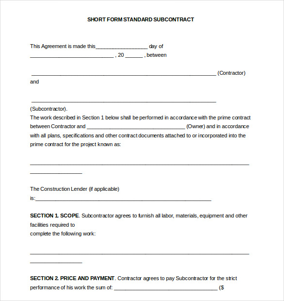 Short Form Subcontract Agreement1
