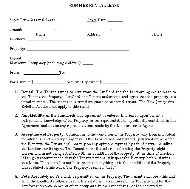 Short Term Seasonal Rental Agreement