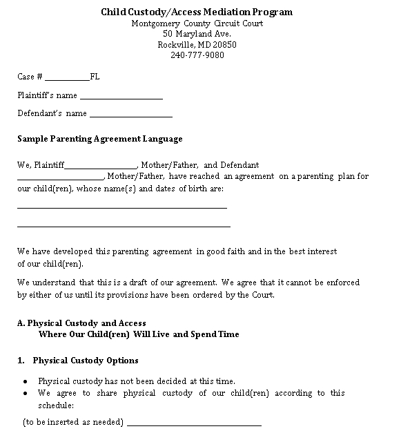 Simple Parenting Agreement Template