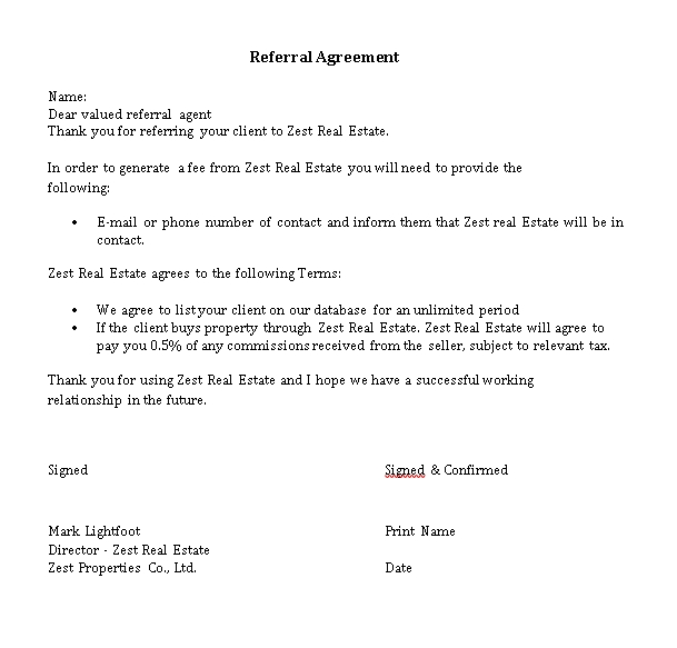 Simple Real Estate Referral Agreement