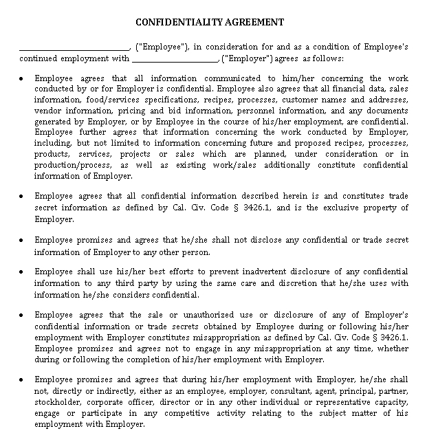 Simple Restaurant Confidentiality Agreement With Non Compete Clause