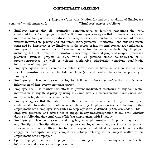 Simple Restaurant Confidentiality Agreement With Non Disclosure Clause Template