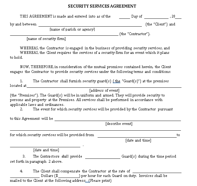 Simple Security Service Agreement