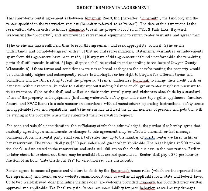 Simple Short Term Rental Agreement