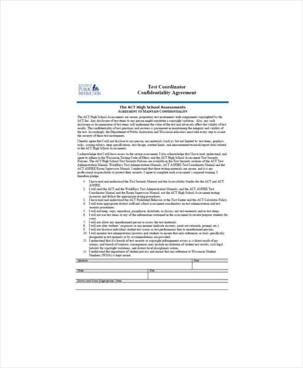 Simple Teacher Confidentiality Agreement